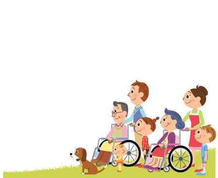 Wheelchair third generation family sideways illustration.