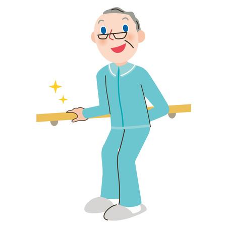 Handrail Grandpa vector illustration.
