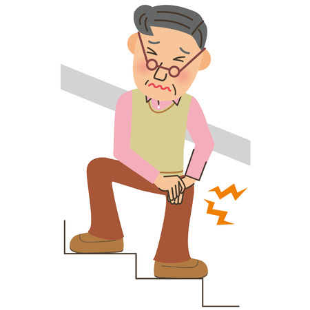 Old man whose foot hurts  イラスト・ベクター素材