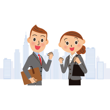 Man and woman of the pose of the company who work hard