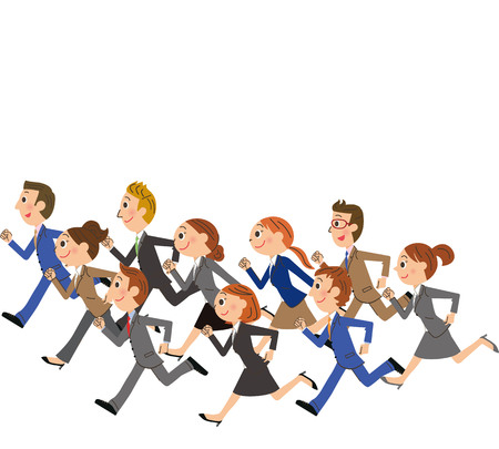 Running company workers unite illustration.