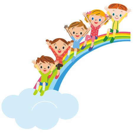 Children sitting on rainbow