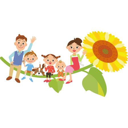 Family sitting on sunflower  イラスト・ベクター素材
