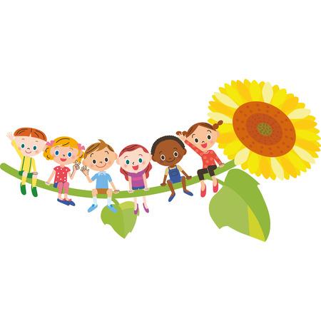 Children sitting on sunflower