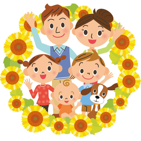 Family family and sunflower  イラスト・ベクター素材