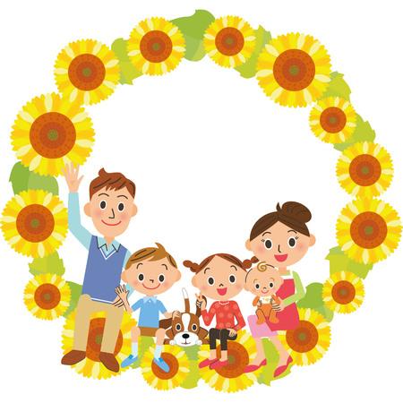 Family family sitting on sunflower