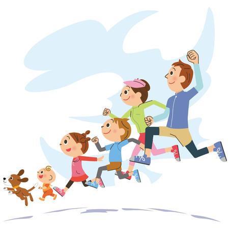 Family who runs energetically Foto de archivo - 103672015