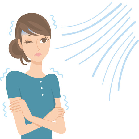 Women who are cold in air conditioning Illustration