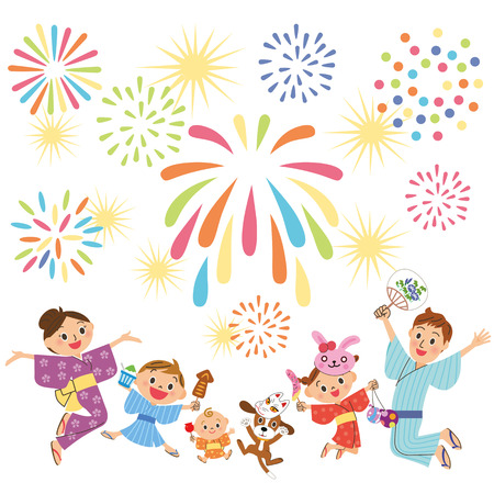 Families watch fireworks vector illustration