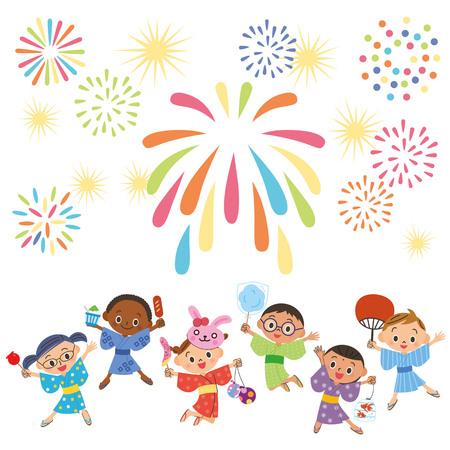 Des enfants multiraciaux se rassemblent pour regarder des feux d'artifice