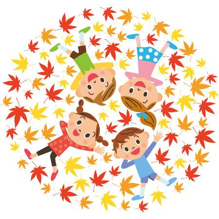 Children who lie down on the leaves of Ginkgo biloba Illusztráció
