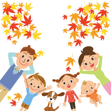 Family to sleep while watching the autumn leaves