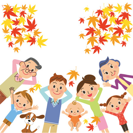 Three generations family sleeping while looking at autumn leaves Illustration
