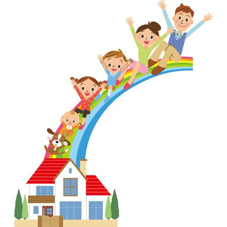House, family, rainbow,