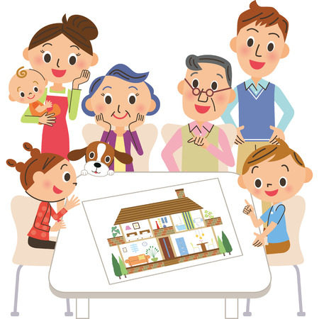Three generations families see the house plan Stock Illustratie