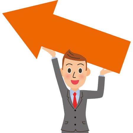Rising sales Male employees Vektorové ilustrace