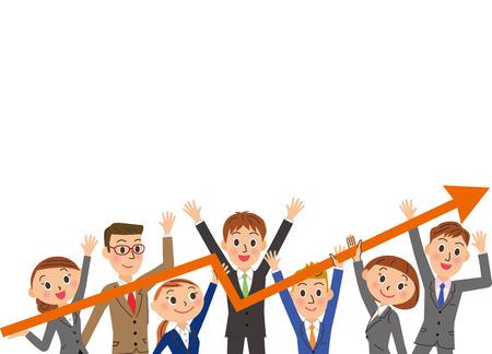 Rising sales with teamwork Иллюстрация