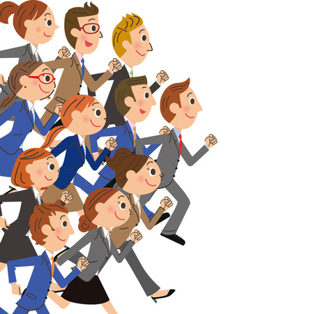 Company employee to run in groups  イラスト・ベクター素材