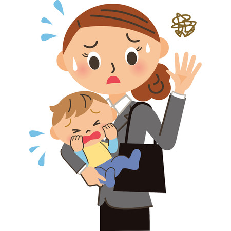 Women who commute with the children crying Ilustração