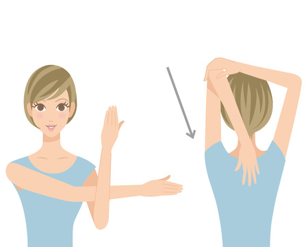 Stretch of shoulder blades 向量圖像