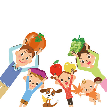 Family of harvesting ingredients Illustration