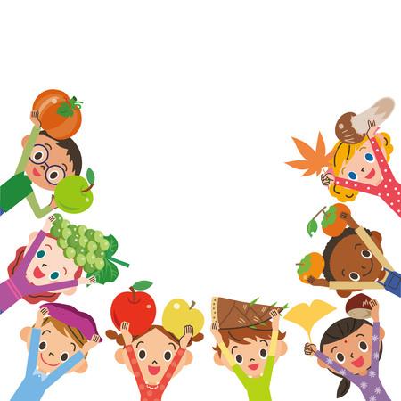 Harvesting ingredients Children frame