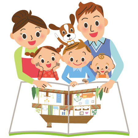 Family seeing house brochure Stock Vector - 112803097