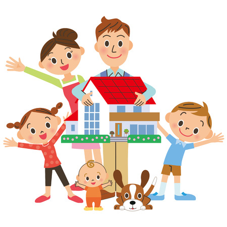 Family with home Stock Illustratie