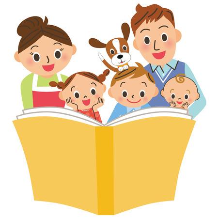 Leer libros con padres e hijos.