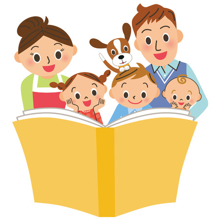 Reading books with parents and children Illustration