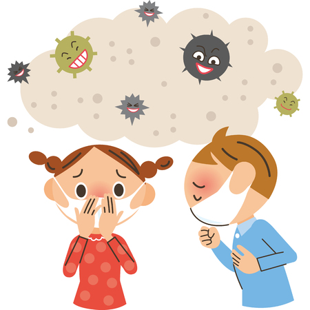 Enfants avec un agent pathogène et un rhume Vecteurs
