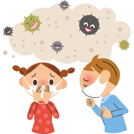Kinder mit einem Erreger und einer Erkältung Vektorgrafik