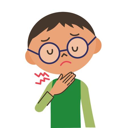 Chico duele la garganta Ilustración de vector
