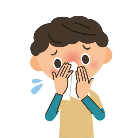 Junge beißt sich in die Nase Vektorgrafik
