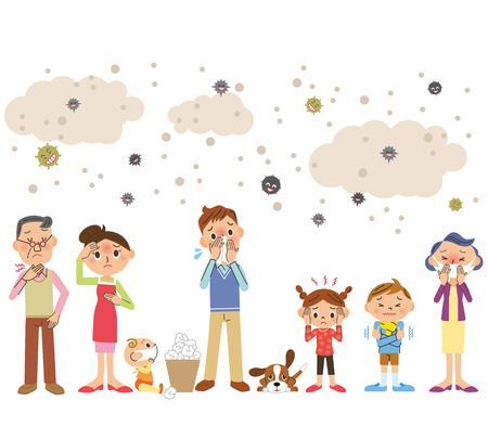 Cała rodzina zimno Ilustracje wektorowe