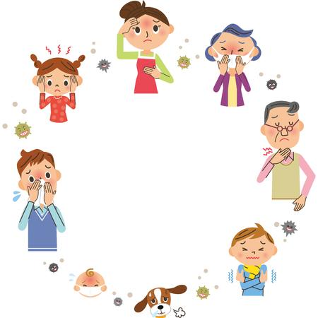 Famille avec des rhumes et espace de copie
