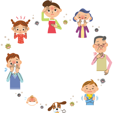 Family with colds and copy space Stock Illustratie