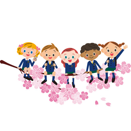 Smiling children sitting on cherry blossoms