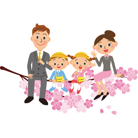 Kindergarten and parent and child are sitting on cherry blossoms