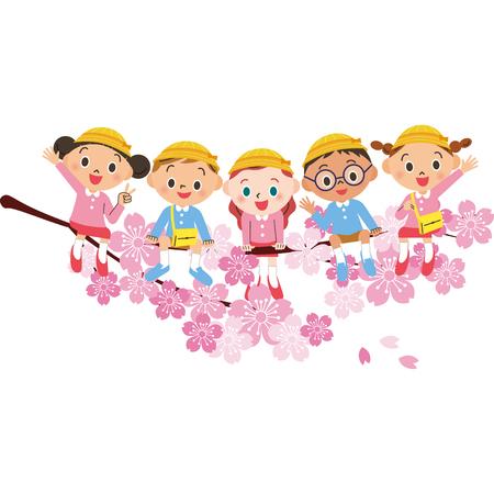 Children in kindergarten are sitting on cherry blossoms
