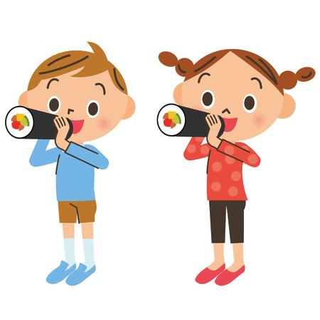 Children eating Eho winding