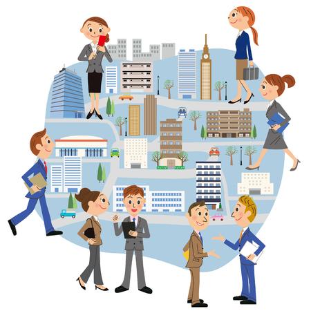 Office city office worker Illusztráció