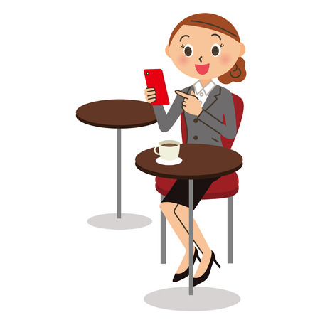 Company employee to see the mobile phone at a coffee shop
