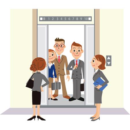 Impiegato che guida l'ascensore Vettoriali