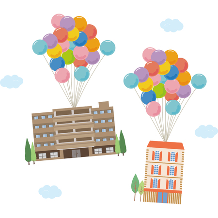Apartments are flying with a balloon