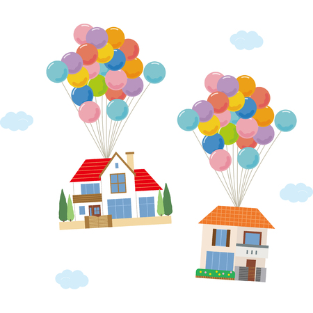 Residential home flying with a balloon