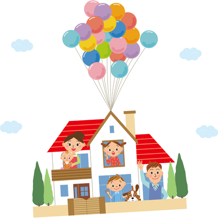Families and balloons living in a detached house Stock Illustratie