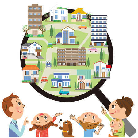 Family and property search Stock Illustratie
