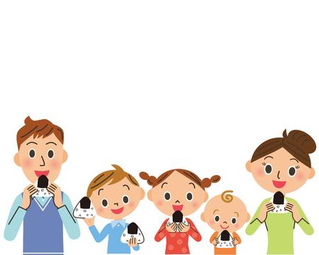 Families eating onigiri