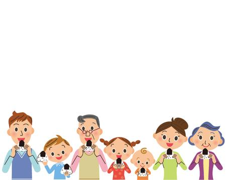 Three generation family eat rice balls